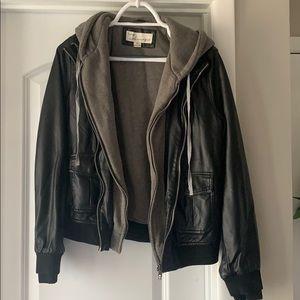 Sweatshirt lined leather jacket